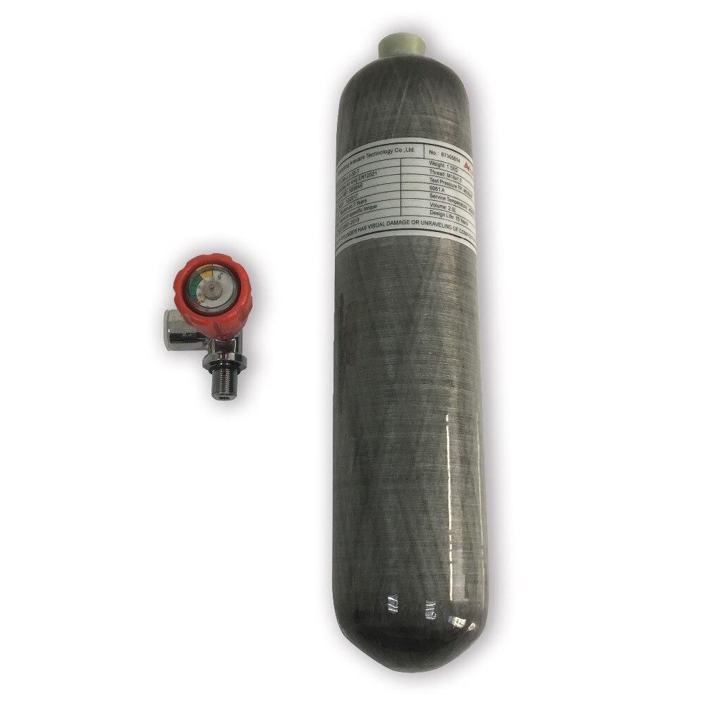 2L 4500psi 300bar композитного углеродного Волокно газовый баллон/PCP Air Tank для PCP пневматический пистолет или дайвинг с красный судить клапан