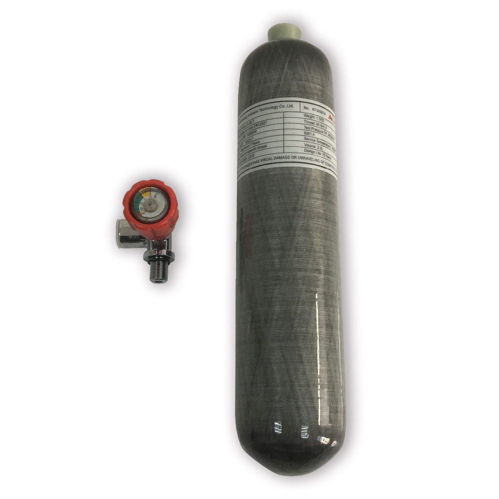 2L 4500psi 300bar composite Carbon Fiber Gas Cylinder /PCP Air Tank for pcp air gun or diving with red gauged valve