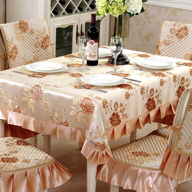 Rectangular Table Cloth Floral Emboss Table Cover Manteles Para Mesa