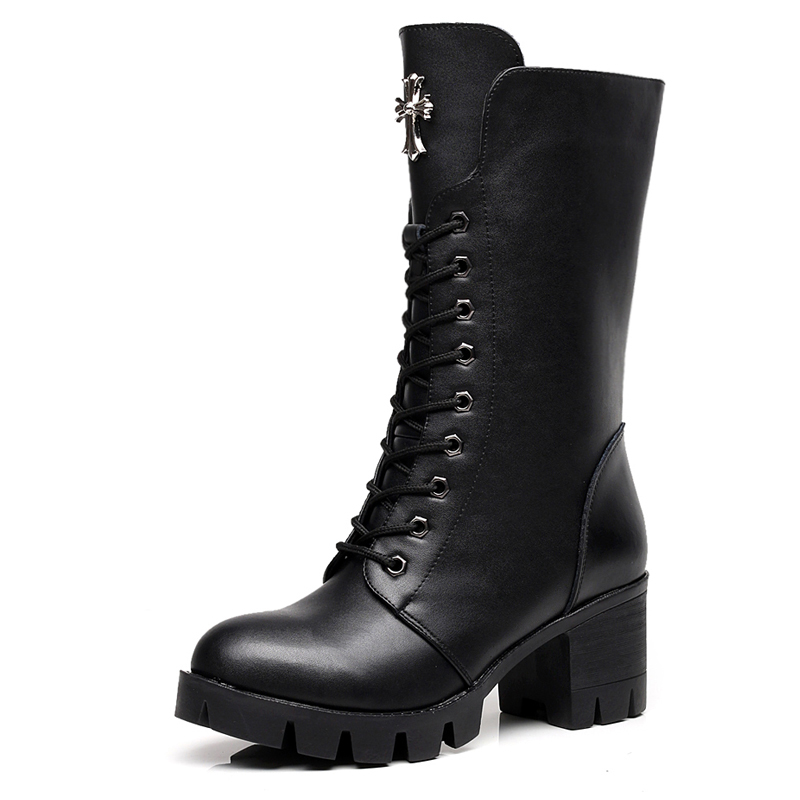 Motorcycle Boots Martin Women's Leather Single High-heeled Spring And Autumn Thick Thick With The Female Boots short boots woman the fall of 2017 a new restoring ancient ways british wind thick boots bottom students with martin boots