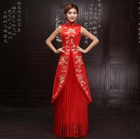 New design long cheongsam embroidered Chinese traditional dress