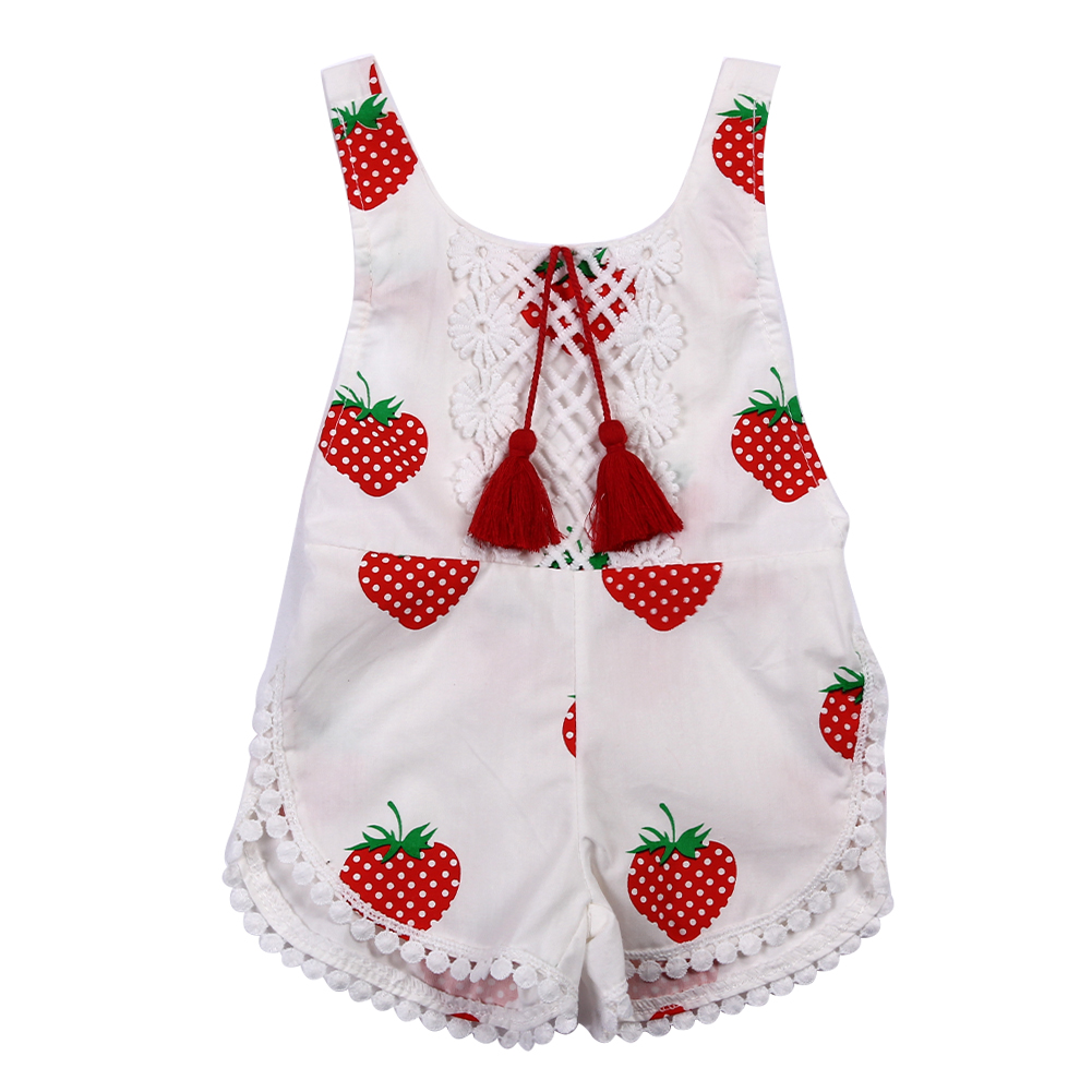 Lovely Baby Girls Romper Newborn Summer Sunsuit Clothes Infant Kids Sleeveless Strawberry Printed Backless Halter Jumpsuit newborn baby backless floral jumpsuit infant girls romper sleeveless outfit