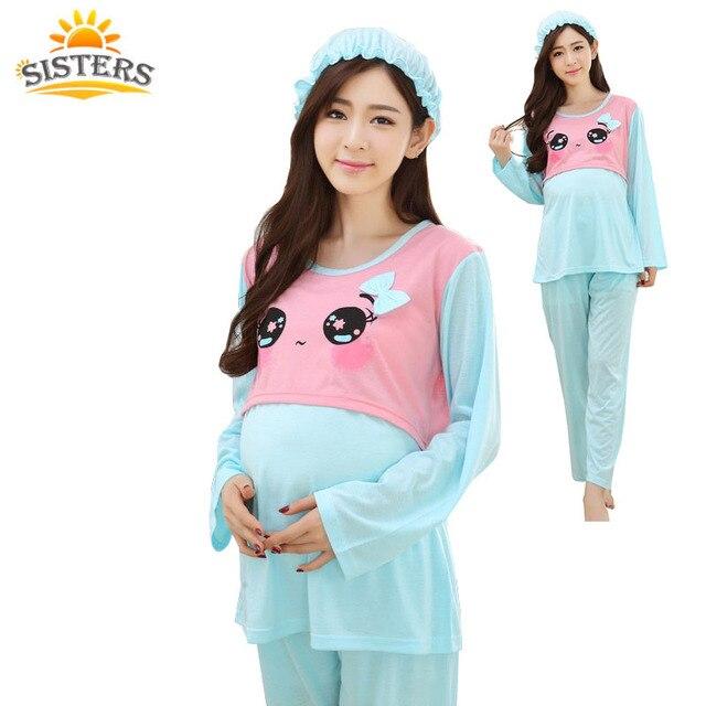 2016Quality Cotton Maternity Sleepwear Pregnant Women Pajamas Nursing  Breast Feeding Nightgown Clothes For Pregnant Long Sleeve