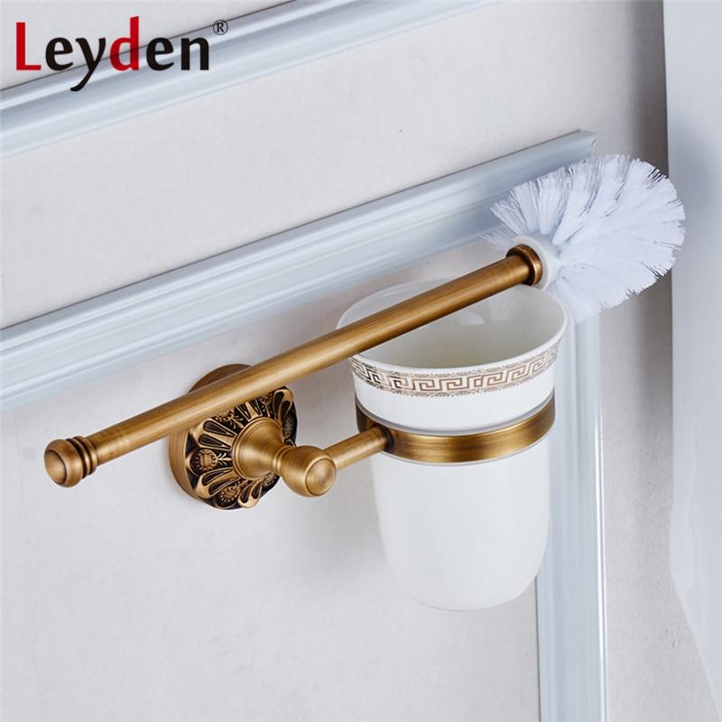 Leyden Antique laiton/noir porte-brosse de toilette mural ensemble de brosse de toilette Antique en cuivre avec tasse en porcelaine