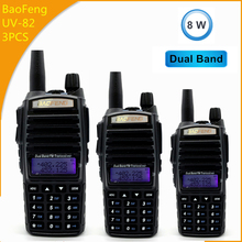3pcs High Power 8W  Baofeng UV82 Dual Band Walkie Talkie UV 82 Ham CB Radio UHF FM Transceiver 136 174/400 520MHz Two Way Radio