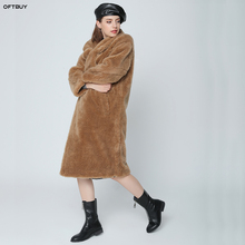 OFTBUY 2019 Real Fur Coat Winter Jacket Women Long Parka Natural Wool Fur Outerwear Oversize Thick