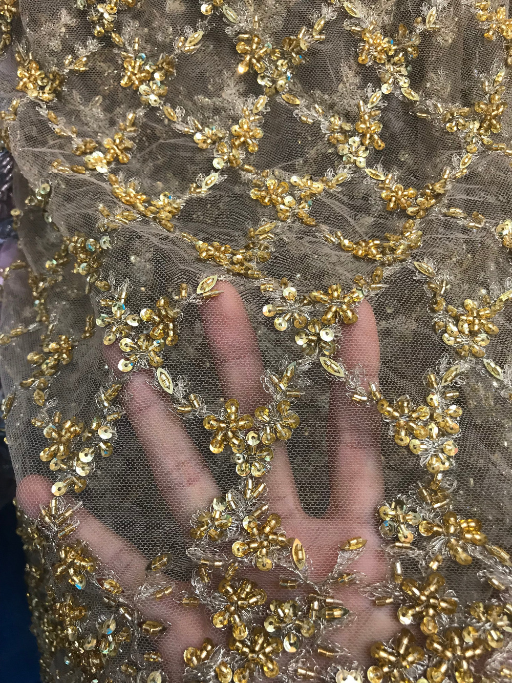 Luxury gold colour french net sequins embroidery tulle mesh lace fabric with beads for wedding dress|Lace| |  - title=