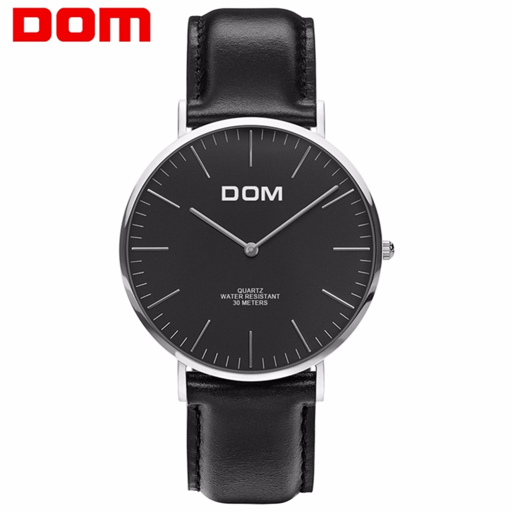 DOM Watches Men Top Luxury Brand Black Silver Leather Quartz Wrist Men Watch Waterproof Fashion Casual