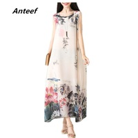 New Fashion Chiffon Vintage Print Plus Size Women Casual Long Loose Summer Dress Vestidos Femininos 2017