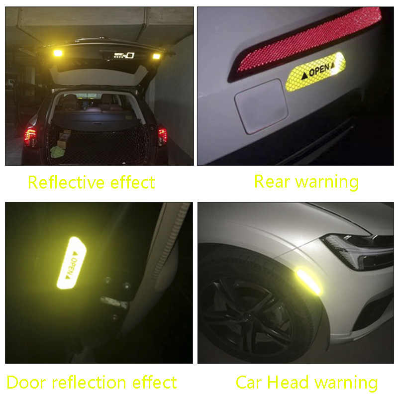 4pcs Car door OPEN safety anti-collision warning reflective stickers for Toyota Camry Corolla RAV4 Land Cruiser Car accessories