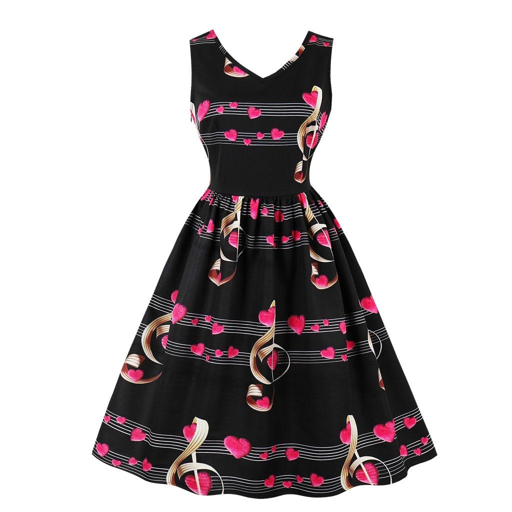 Printed Dress 2018 New Fashion Women Summer Tank Dress Prom Hepburn Vestidos Robe Femme Casual Party Swing Dresses