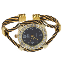 cussi Steel Wire Crystal Quartz Bracelet Bangle Wrist Watch Black+Gold
