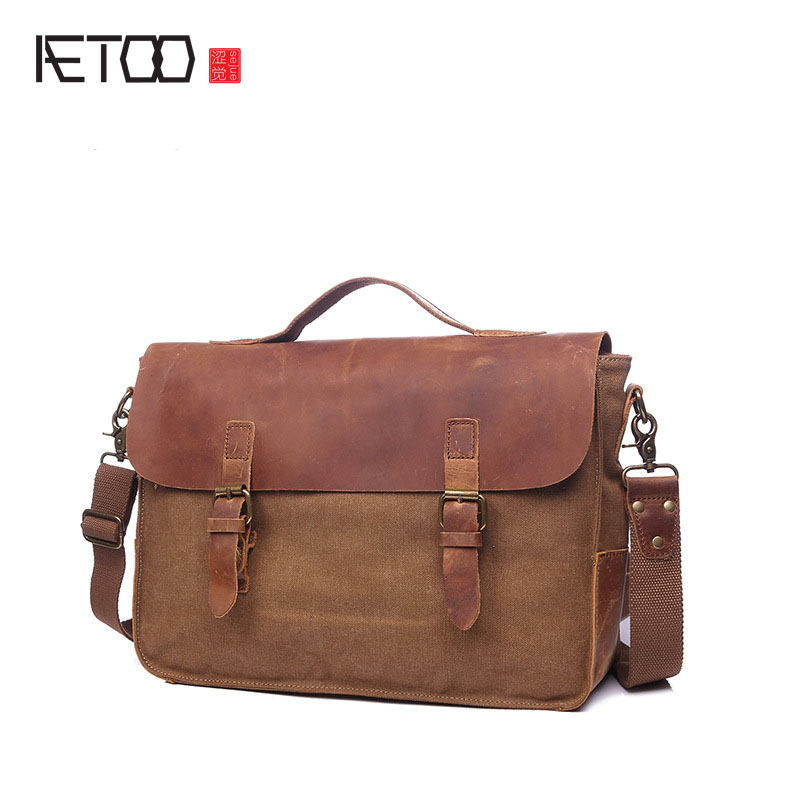 AETOO Cloth bag Europe and the United States retro portable briefcase retro computer shoulder diagonal package with leather bag new europe and the united states fashion oil wax head layer of leather portable retro shoulder bag heart shaped color embossed h