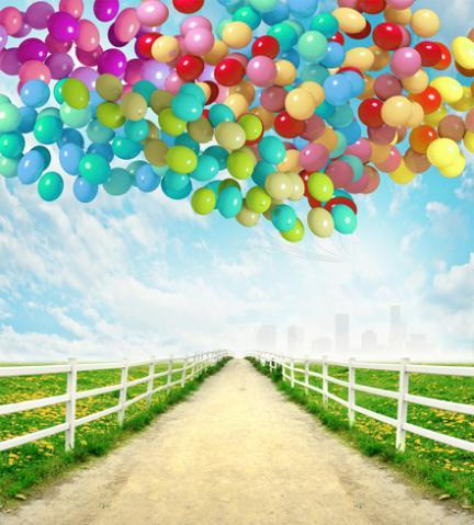 Blue Sky White Clouds Country Road Purple Balloon backdrop Vinyl cloth High quality Computer printed party Backgrounds for sale
