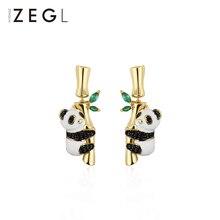 ZEGL cute panda earrings female 2019 new Chinese style temperament ear jewelry