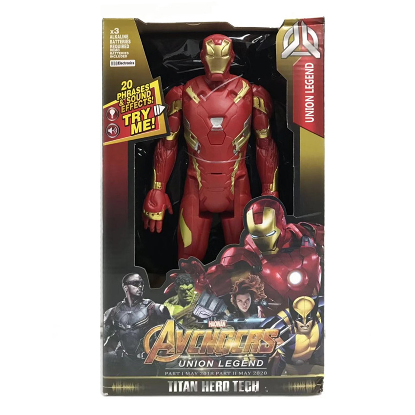 Captain Marvel DC Action Figure LED Sounding Iron Man Hulk Batman The Flash Superman Wolverine Black Panther Thor Avengers in Action Toy Figures from Toys Hobbies