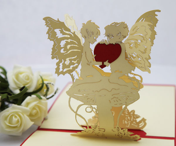 Angel Heart Girlfriend Birthday Gift Ideas Paper Edge Lines Carved Three Dimensional Greeting Cards Handmade