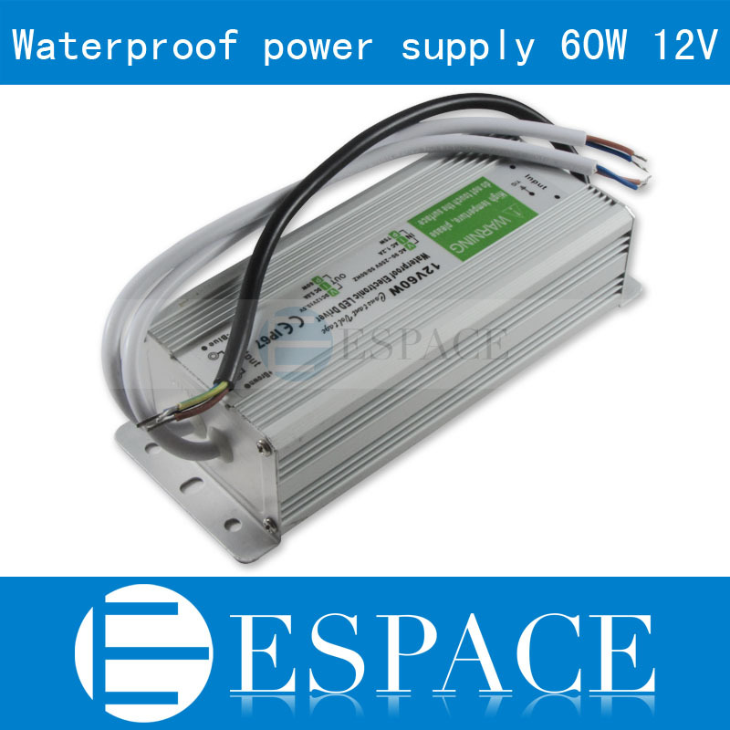 10piece/lot IP67 12V 5A 60W AC100-240V Input Electronic Waterproof Led Power Supply/ Led Adapter 12V 60W free fedex ip67 12v 5a waterproof electronic led power supply silver 100 240v