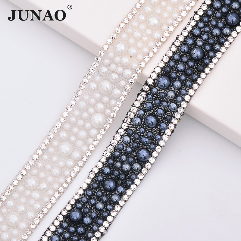 JUNAO 5 Yard 18mm Hotfix White Black Pearl Rhinestones Chain Trim Bridal  Beads Fabric Applique Strass Crystal Banding For Dress. В избранное.  gallery image 4411ec0592b7