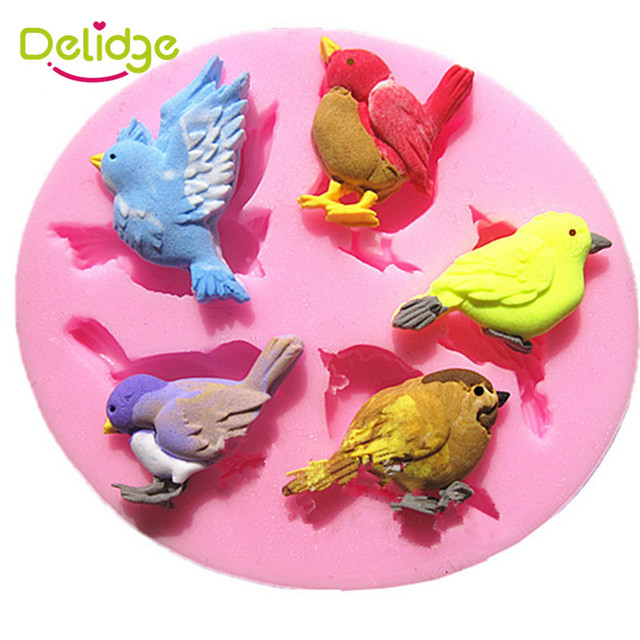 Delidge 1PC New Design 5 Birds Shape Silicone Cake Mold 3D Cute Bird Tools Fondant Decorating Modelling Tool