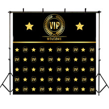 NeoBack VIP Birthday Party Backdrop Custom Gold Star Repeat Black Photography Backdrops Studio Shoots
