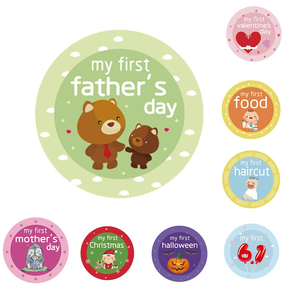 Fashion 18Pcs 1-12 Month Skills Printed Stickers Newborn Baby Photography Prop Decor