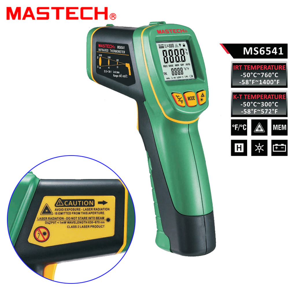 MASTECH MS6541 Handheld Non-contact Infrared laser Thermometer Point Temperature Gun -50C~760C with K-type Temperature mastech ms6530a d s 12 1 non contact infrared thermometer ir temperature gun with laser pointer tester 20c 850c