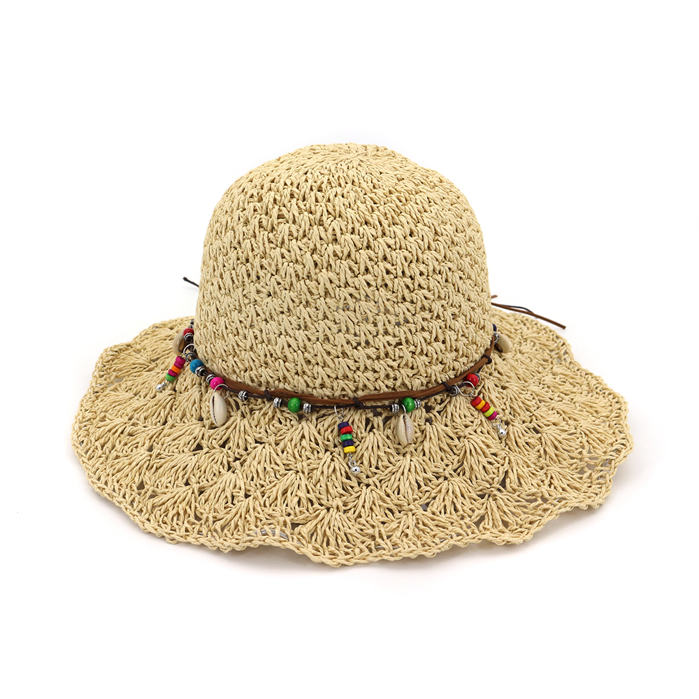 3b5cf2cdd4a 2018 Fashion Wide Large Brim Floppy Summer Beach Sunhats for Women Straw  Cap with Shell Pearl Bow Cap for Girls CM031B