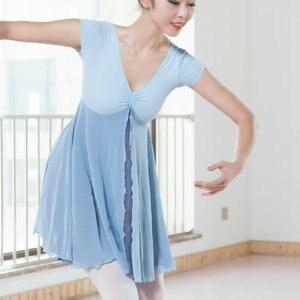 Image 4 - 새로운 성인 현대 무용 발레 복장 짧은 소매 Leotards ards 여자 체조 메쉬 춤 옷 발레 훈련 performanmanc