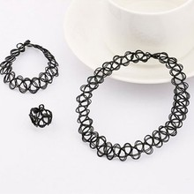 1 Set Summer Style Collares Women Girls Vintage Stretch Tattoo Choker Necklace Set Retro Gothic Punk Adjustable Stretchy Trinket(China)