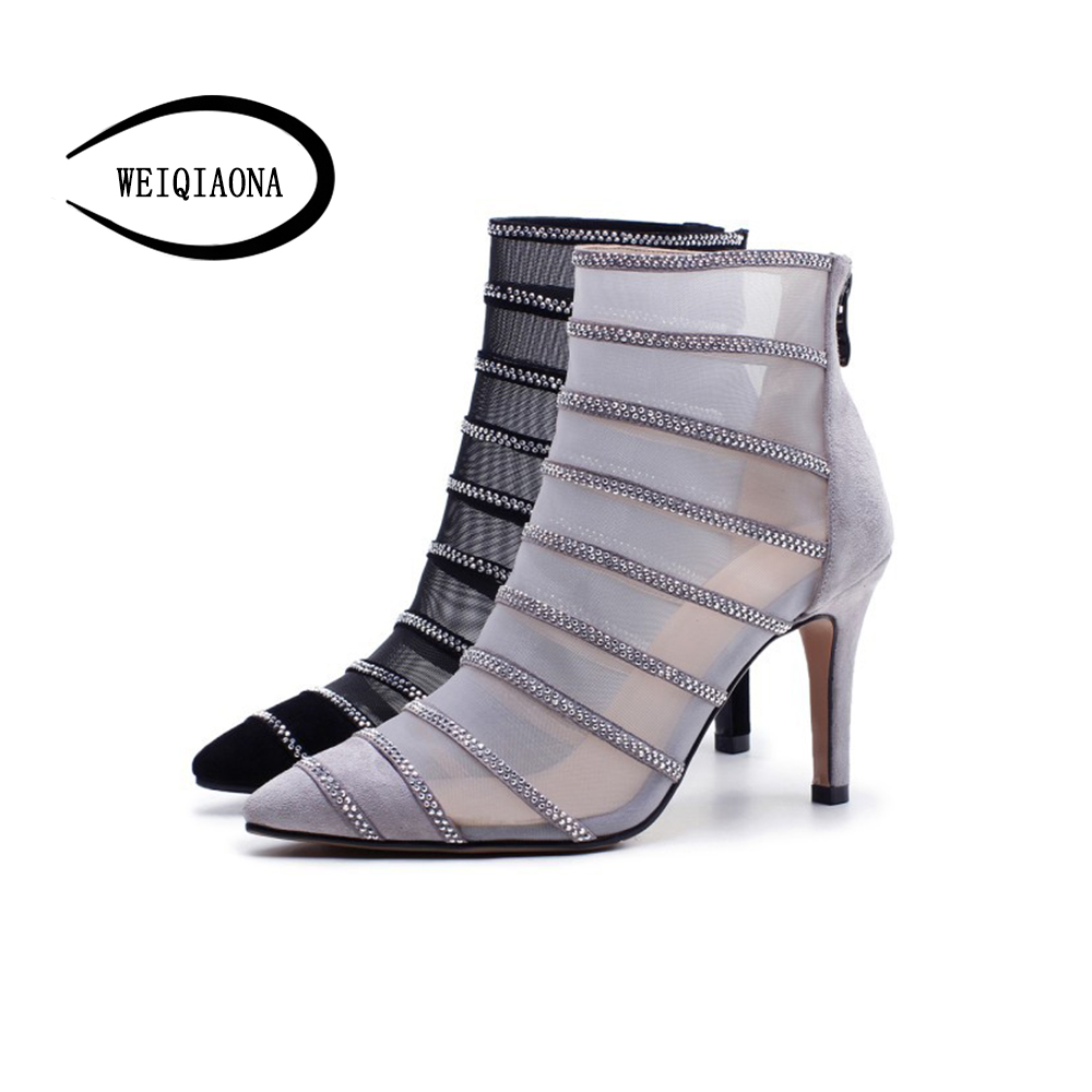WEIQIAONA Shoes Women Spring Summer High-heeled Cool Boots Designers Brand cow leather crystal sexy mesh stiletto cutout boots