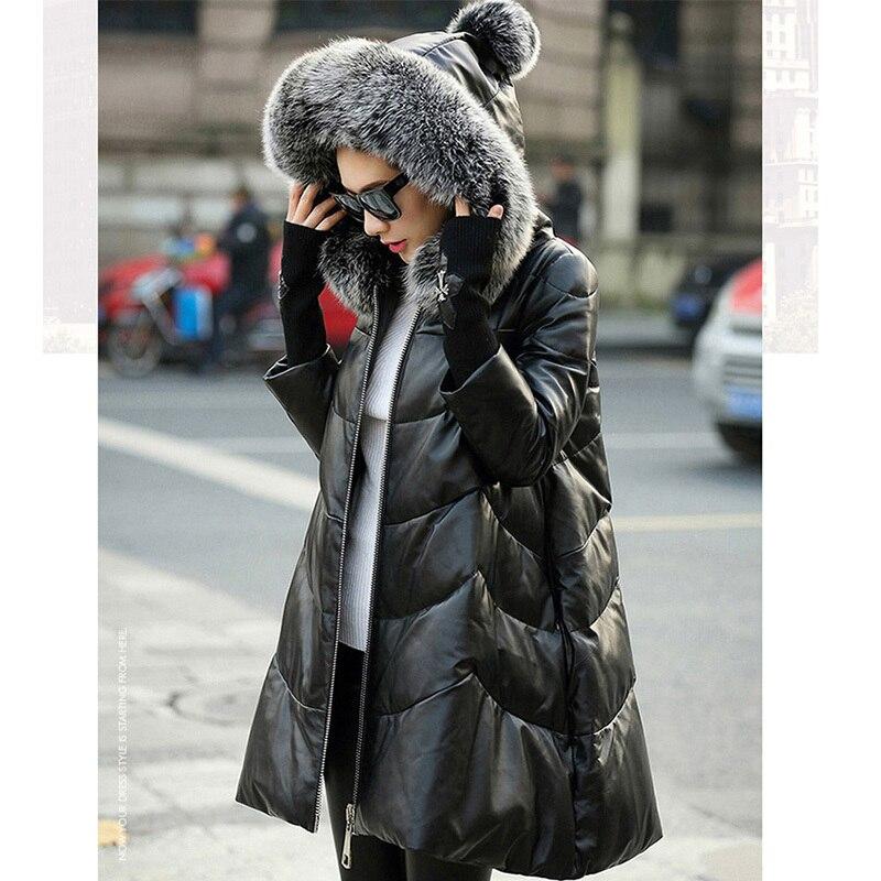 Long Mouton Hoodies Nouvelle Femelle Chaud D'hiver Outwear Fourrure Femmes Black Canard Cuir G01 Manteau En Réel Des 2018 Renard Blanc De Peau Veste Duvet RwHqRvfU
