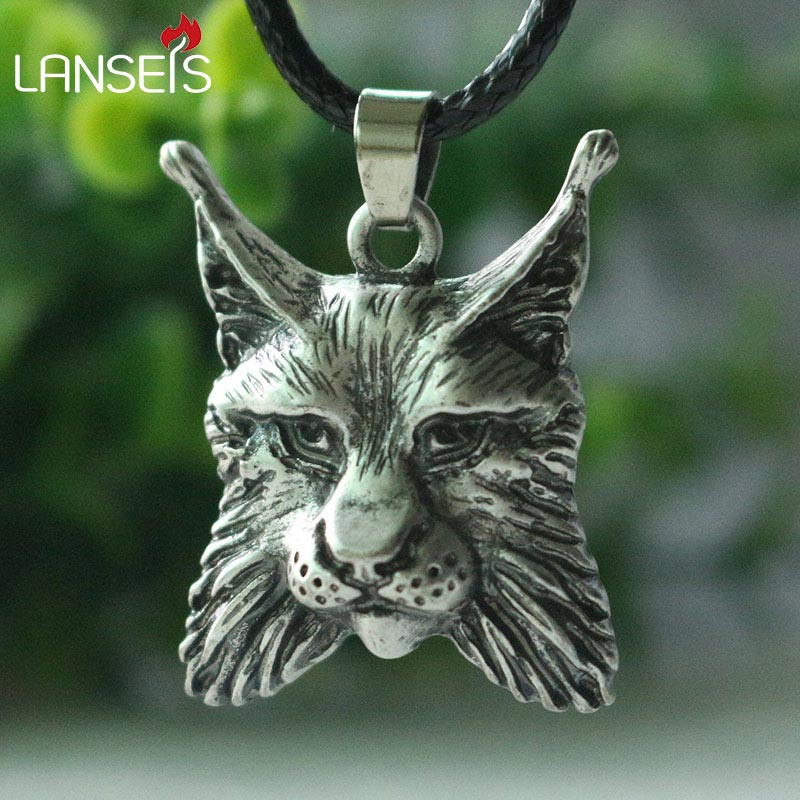 lanseis 1pcs viking animal LYNX pendant men necklace Bobcat Pendant Spirit Lynx Fantasy jelwelry