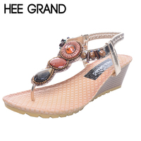 HEE GRAND Bohemia Beading Sandals Women Wedges Heel Flip Flops Hand Made Summer Beach Shoes For