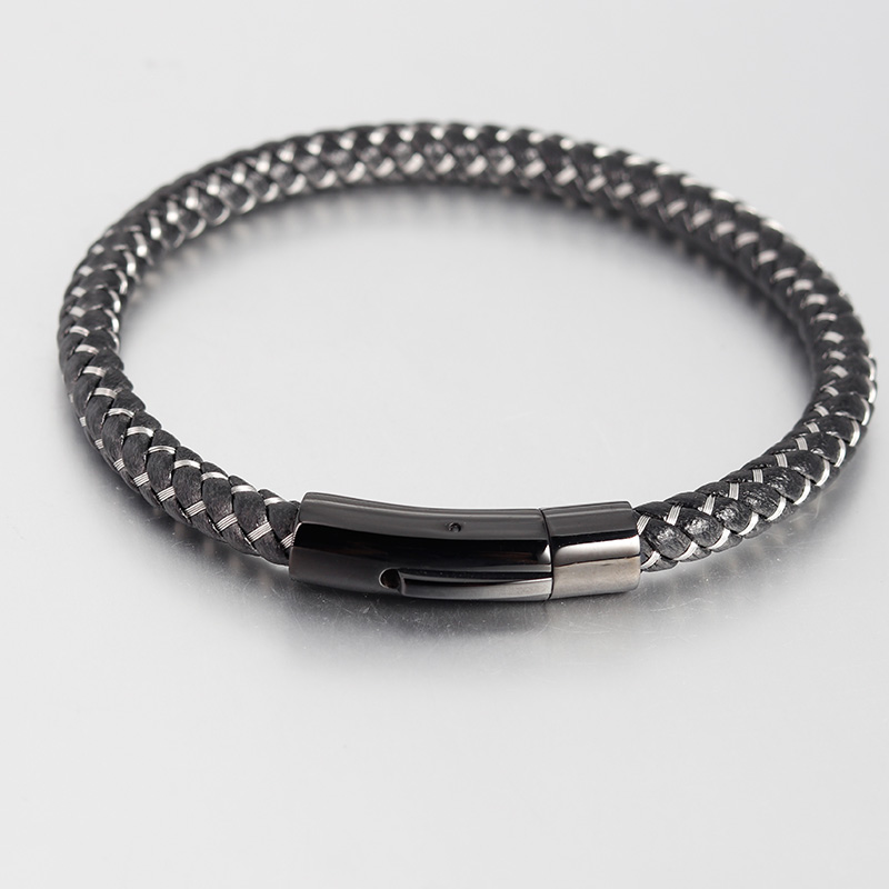 Bracelets En Cuir Véritable Bracelets Avec Câble En Acier Inoxydable C Fermoirs Bracelets de Manchette Pour Homme Femme Bracelets 4