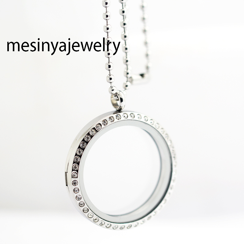 10pcs 34mm Round Crystal Stainless Steel Floating Locket With Free 24'' 2.4mm ball Chain,Magnetic Memory Charm Lockets Necklace