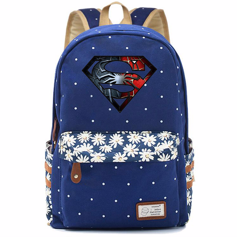 Deadpool Superman Hulk Wonder Woman Flowers Dot Girl School bag Women Bagpack Teenagers Schoolbags Canvas Lady Femme Backpack 9 image