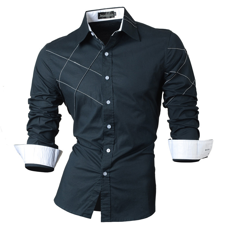 2017 New summer men's casual shirt personality plaid decorate popular men fashion long sleeved Shirt 6 color big size M- XXL