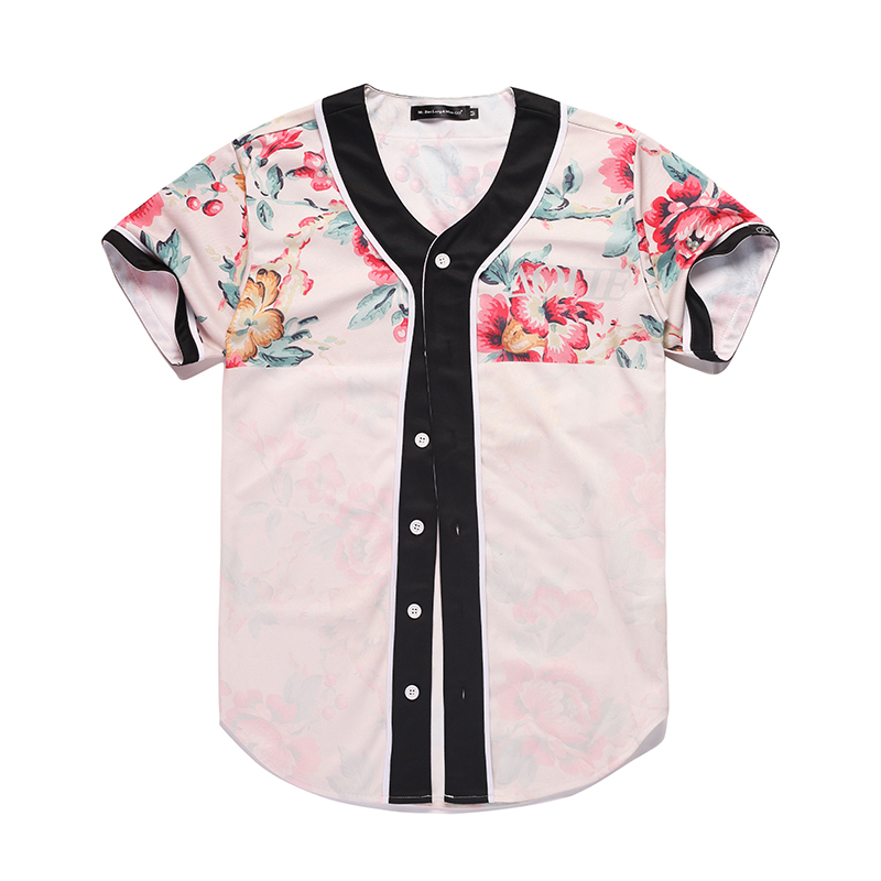 2017 Floral 3D Baseball Jersey Soft Tees Homme Red Flowers 3D Printed Tshirts Summer Streetwear Mens Tracksuit Baseball Shirts