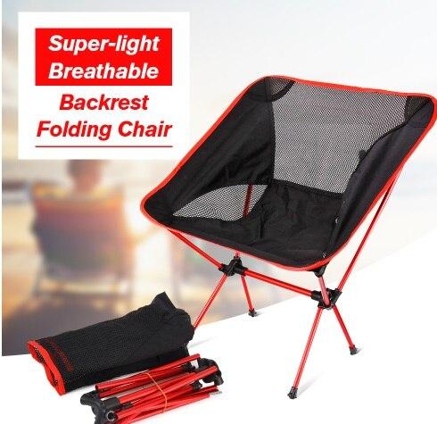 2019 2 PCSX chaise de Camping pliante Portable chaise de pêche en plein air, siège de chaises pliable Ultra-léger pour la pêche