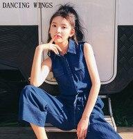 Summer Fashion Sleeveless Drawstring Waist Women Denim Jumpsuits Overalls Ankle Length Wide Leg Jeans Pants Bodysuit