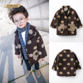 Cute Polka Dot Baby Boy Woolen Coat Autumn New Fashion Boys Trench Outerwear Handsome Outwear Toddler Boy Clothing Kids Clothes