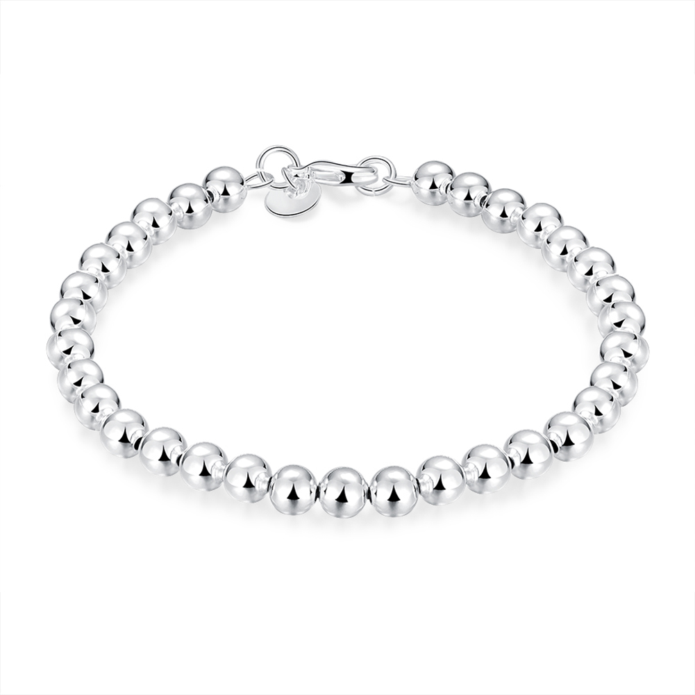 Cute New Fashion 6mm Hollow Mens Beaded Bracelets  Fashion Silver Plated Jewelry String Gloss Ball Charm Bracelet Bangles bracelet