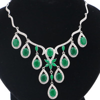 SheCrown Real Green Emerald White CZ Engagement CZ 925 Silver Necklace 18 18.5in 75x54mm