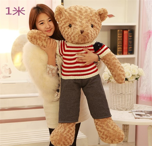 stripes clothes style brown boy teddy bear plush toy large 100cm bear soft throw pillow Christmas gift h823 usa flag teddy bear plush toy brown bear doll large 75cm soft throw pillow valentine s day present birthday gift w5462