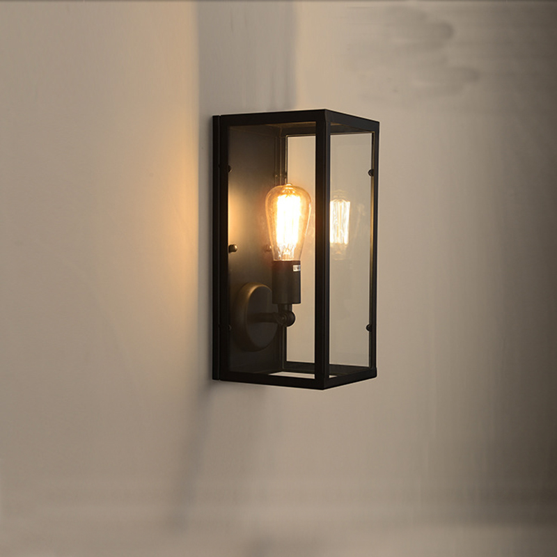 Clear Glass Cover Outdoor Retro Wall Light Metal Frame
