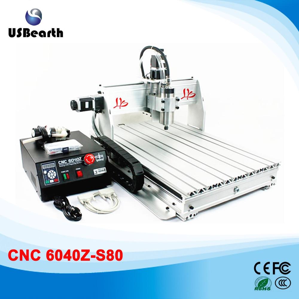 CNC 6040Z-S80 Router 1.5KW VFD spindle CNC Engraving Machine for hard metal usb port 6040z s 4aixs 800w spindle 1 5kw vfd cnc6040 cnc router water cooling metal engraving machine cnc machine cnc 6040