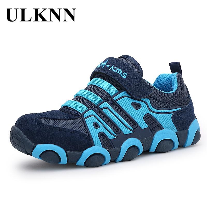 ULKNN Genuine Leather Boys Sneakers For Girls Shoes Kids Trainers Student Running School Children Shoes Sneakers Kinderschoenen
