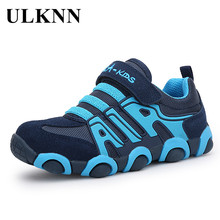 ULKNN Genuine Leather Boys Sneakers For Girls Shoes Kids Tra