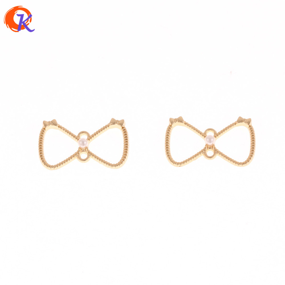 Cordial Design 100Pcs 13*22MM Earring Findings/Charms Bowknot With Pearl/DIY/Earrings Making/Hand Made/Jewelry Accessories